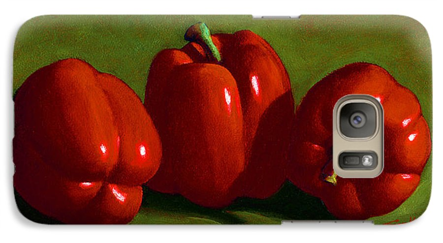 Red Peppers Galaxy S7 Case featuring the painting Red Peppers by Frank Wilson