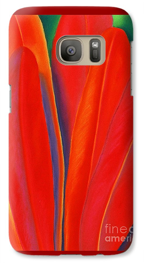 Red Galaxy S7 Case featuring the painting Red Petals by Lucy Arnold