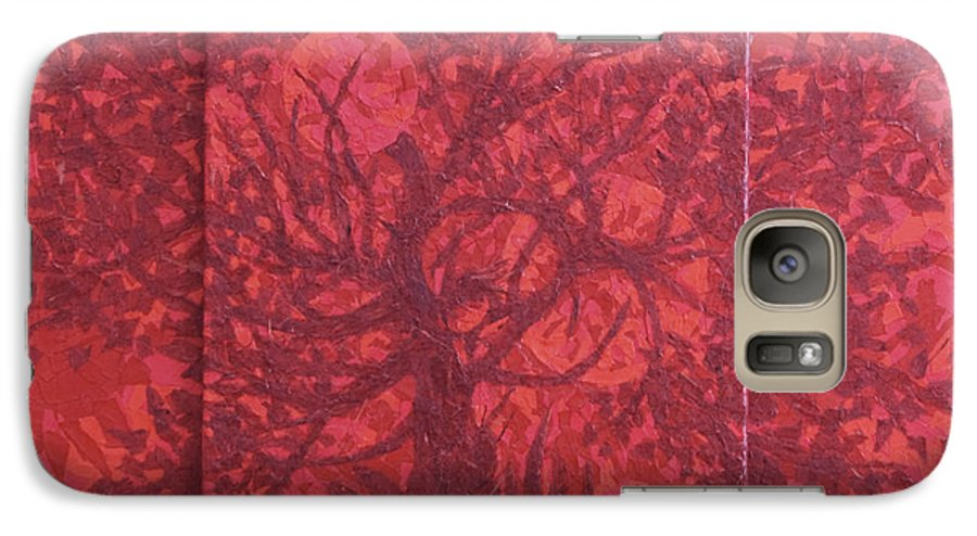 Red Galaxy S7 Case featuring the painting Red Planet by Judy Henninger