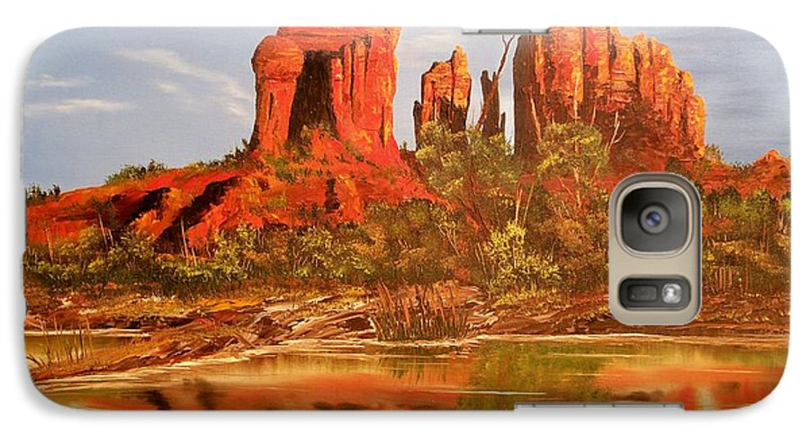 Rocks Galaxy S7 Case featuring the painting Red Rock by Patrick Trotter