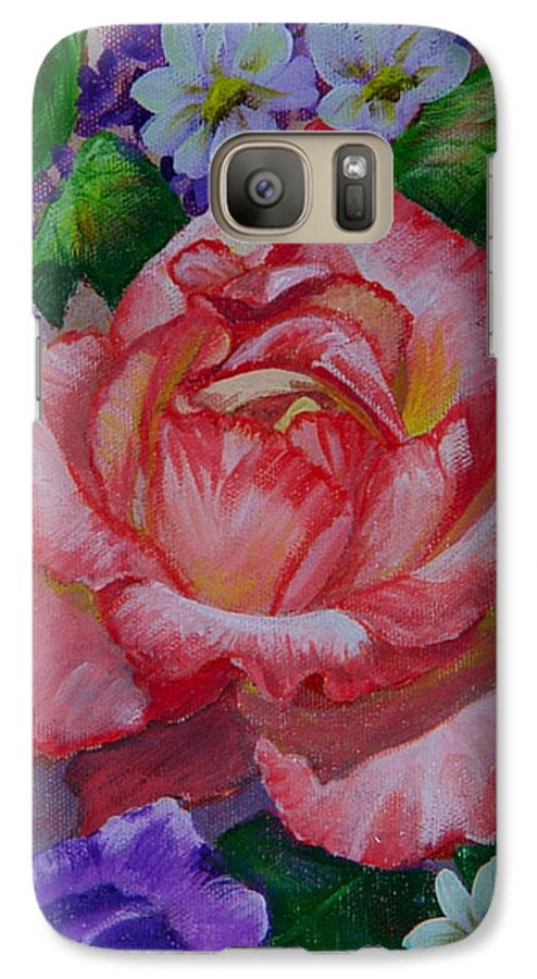 Rose Galaxy S7 Case featuring the painting Red Rose by Quwatha Valentine