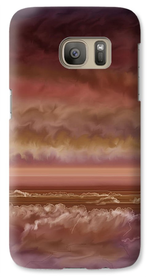 Sunset Galaxy S7 Case featuring the painting Red Sky At Night Sailor Delight by Anne Norskog
