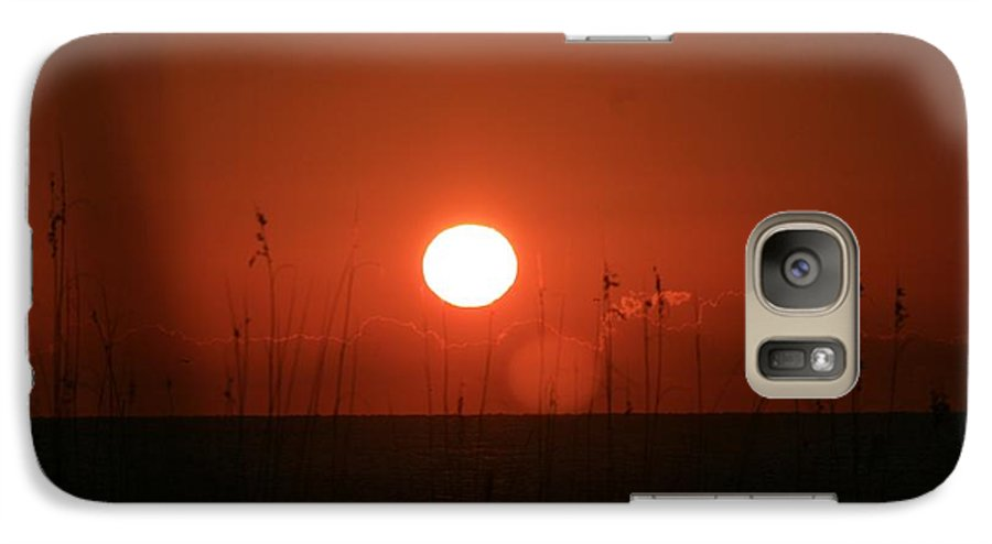 Sunset Galaxy S7 Case featuring the photograph Red Sunset And Grasses by Nadine Rippelmeyer