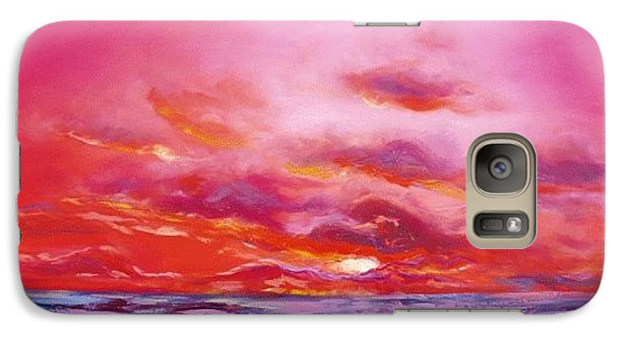 Red Galaxy S7 Case featuring the painting Red Sunset by Gina De Gorna