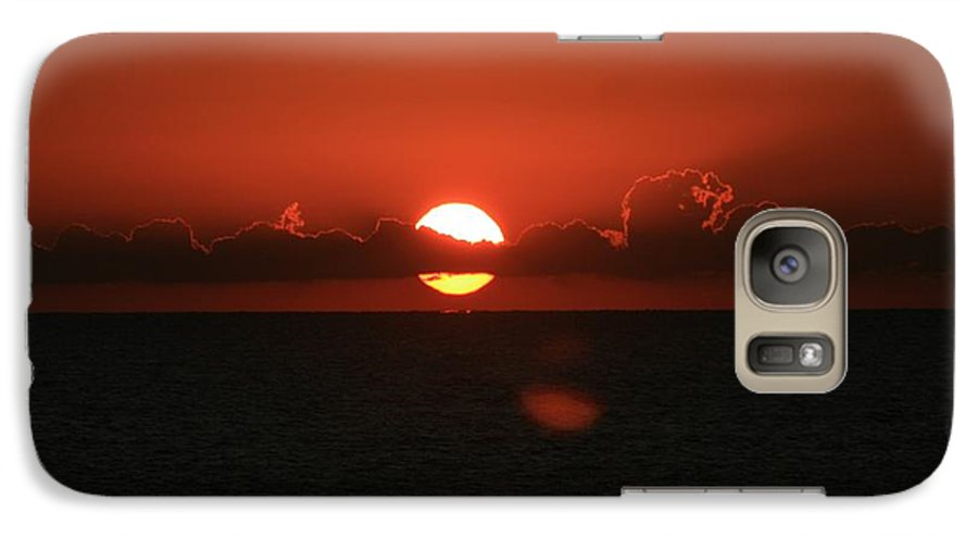 Sunset Galaxy S7 Case featuring the photograph Red Sunset Over The Atlantic by Nadine Rippelmeyer