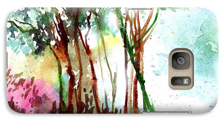 Landscape Galaxy S7 Case featuring the painting Red Trees by Anil Nene