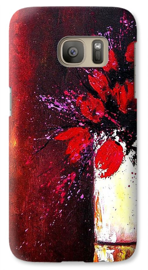 Flowers Galaxy S7 Case featuring the painting Red Tulips by Pol Ledent