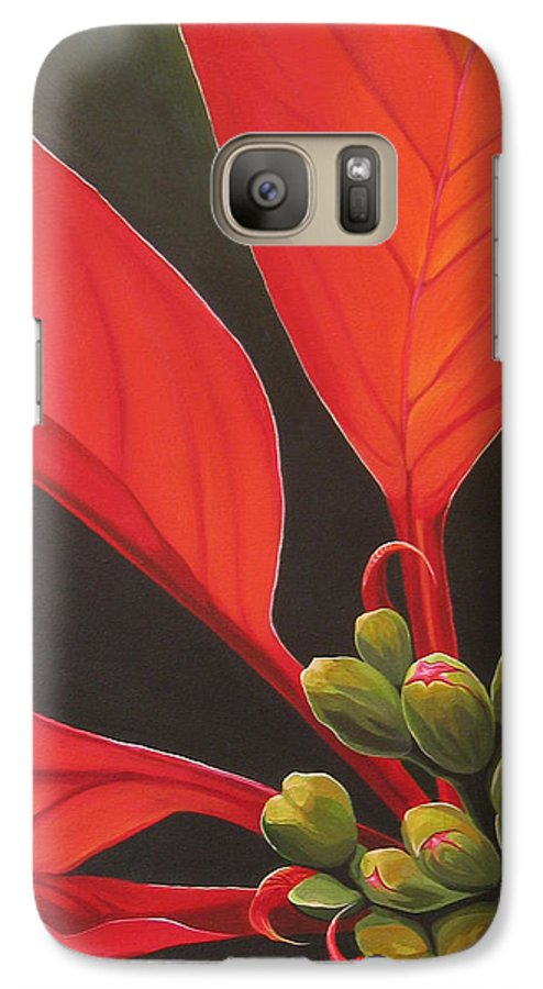 Poinsettia Closeup Galaxy S7 Case featuring the painting Red Velvet by Hunter Jay