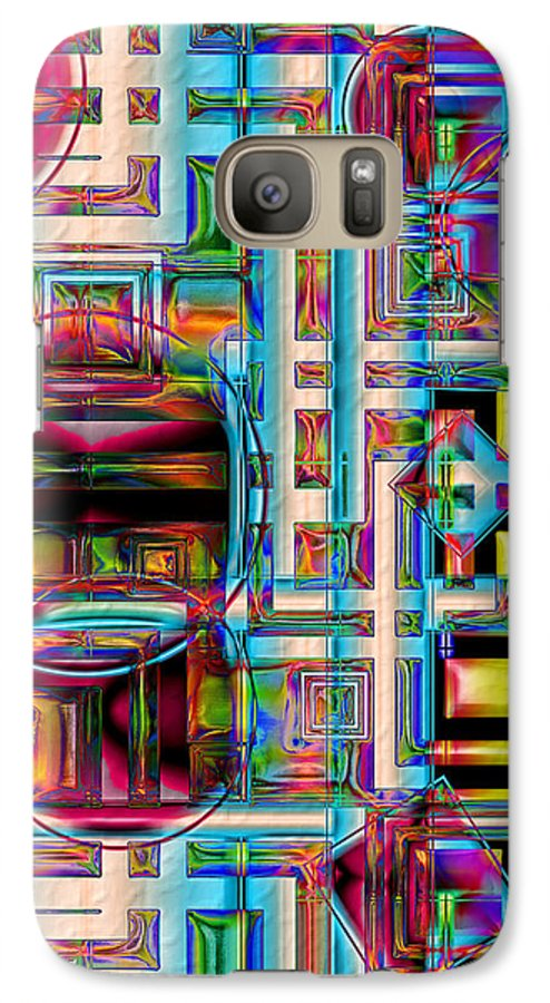 Abstract Shapes Color Geometric Galaxy S7 Case featuring the digital art Refinement by Carolyn Staut