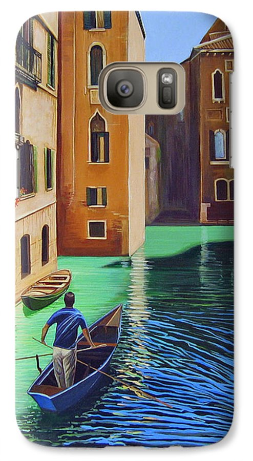 Canal In Venice Galaxy S7 Case featuring the painting Remembering Venice by Hunter Jay
