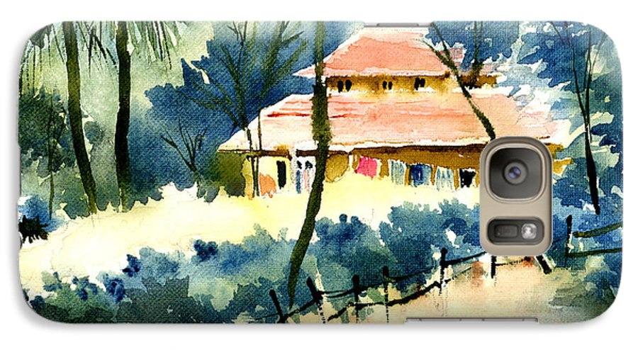 Landscape Galaxy S7 Case featuring the painting Rest House by Anil Nene