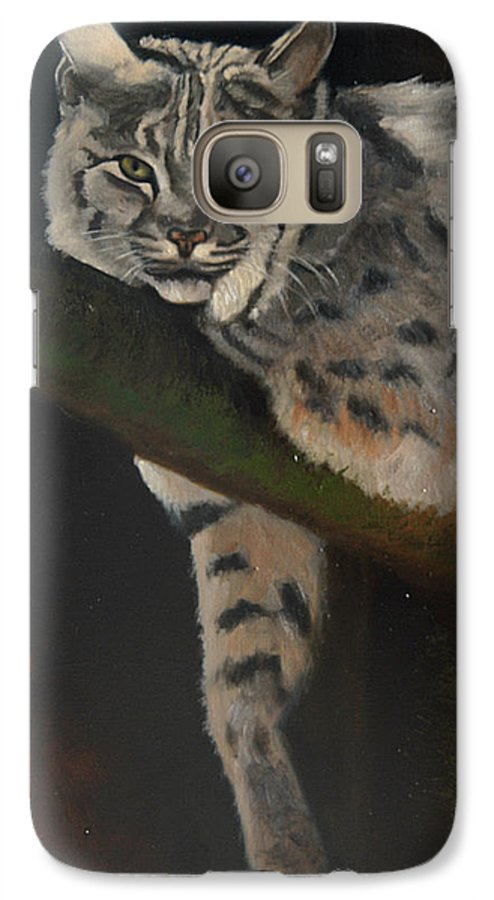 Bobcat Galaxy S7 Case featuring the painting Resting Up High by Greg Neal