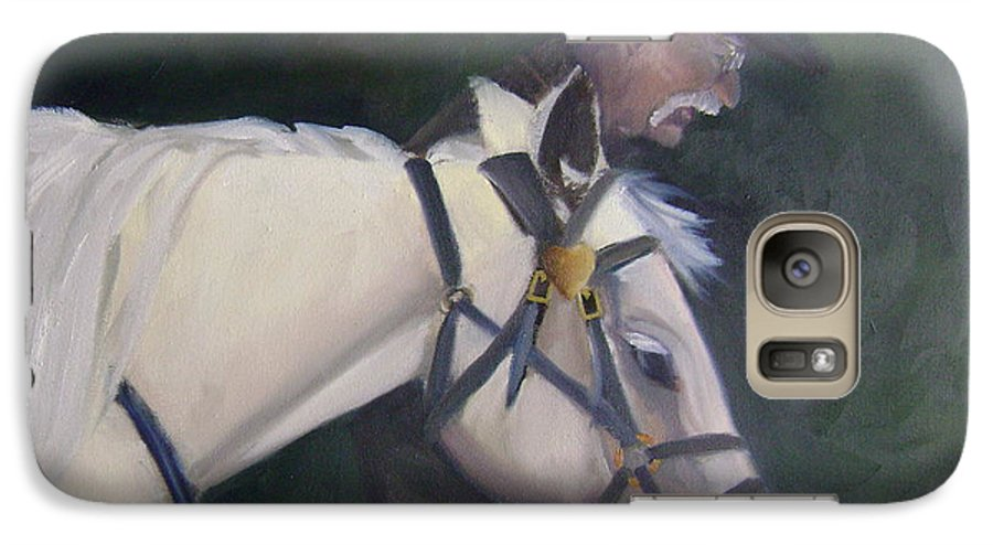 Old Man Horse... Galaxy S7 Case featuring the painting revised- Man's Best Friend by Toni Berry