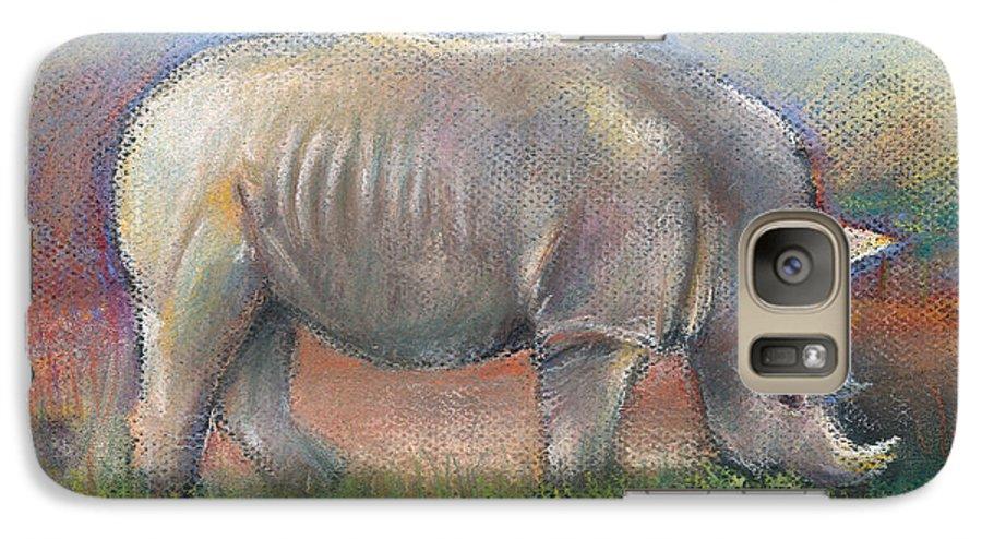 Rhino Galaxy S7 Case featuring the pastel Rhino by Arline Wagner