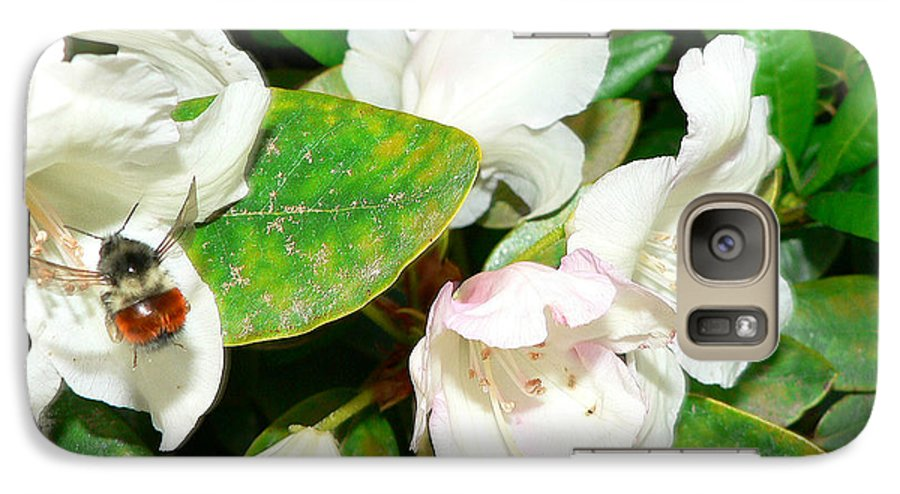 Bee Galaxy S7 Case featuring the photograph Rhododendron And Bee by Larry Keahey