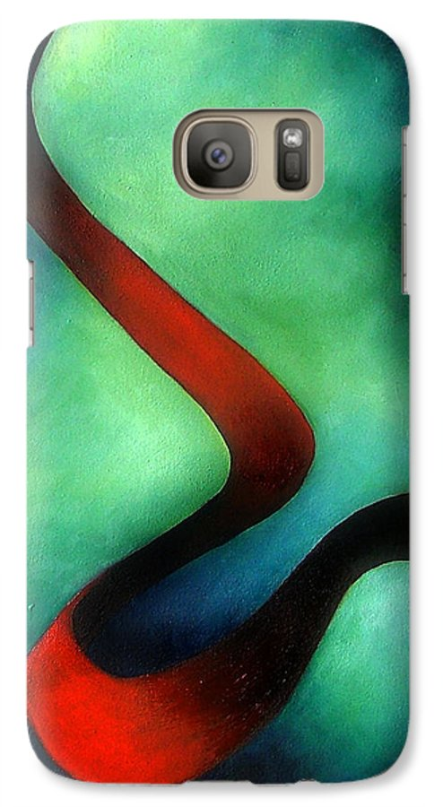 Red Galaxy S7 Case featuring the painting Ribbon Of Time by Elizabeth Lisy Figueroa
