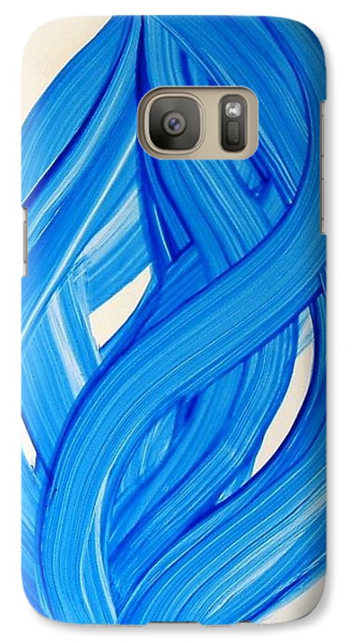 Abstract Modern Contemporary Yupo Art Painting Romantic Pop Blue Galaxy S7 Case featuring the painting Ribbons Of Love-blue by Manjiri Kanvinde