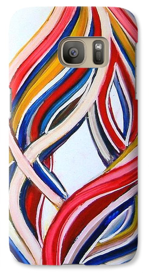 Abstract Modern Contemporary Pop Romantic Love Colourful Red Yellow Blue White Galaxy S7 Case featuring the painting Ribbons Of Love-multicolour by Manjiri Kanvinde
