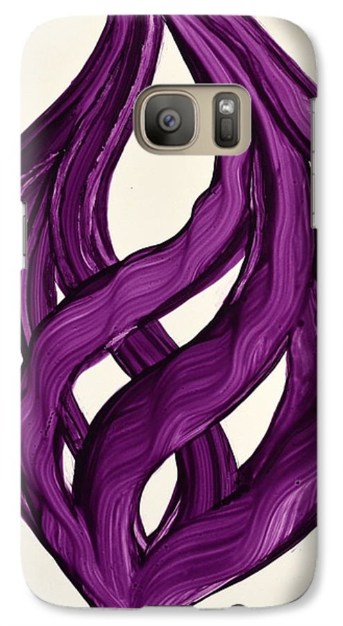 Abstract Art Yupo Comtemporary Modern Pop Romantic Vibrant Galaxy S7 Case featuring the painting Ribbons Of Love-violet by Manjiri Kanvinde