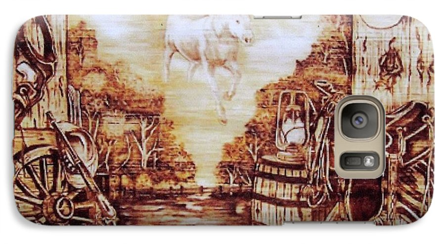 Western Galaxy S7 Case featuring the pyrography Riders In The Sky by Danette Smith
