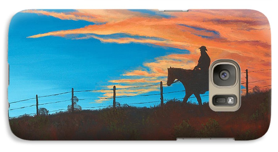Cowboy Galaxy S7 Case featuring the painting Riding Fence by Jerry McElroy
