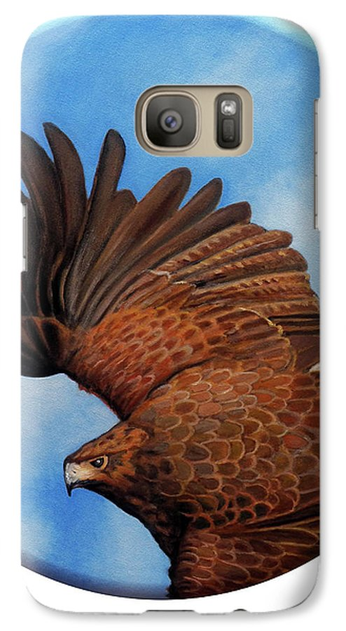 Hawk Galaxy S7 Case featuring the painting Riding The Wind by Brian Commerford