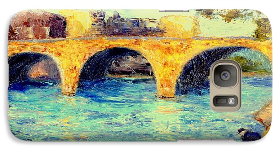 Impressionism Galaxy S7 Case featuring the painting River Seine Bridge by Gail Kirtz