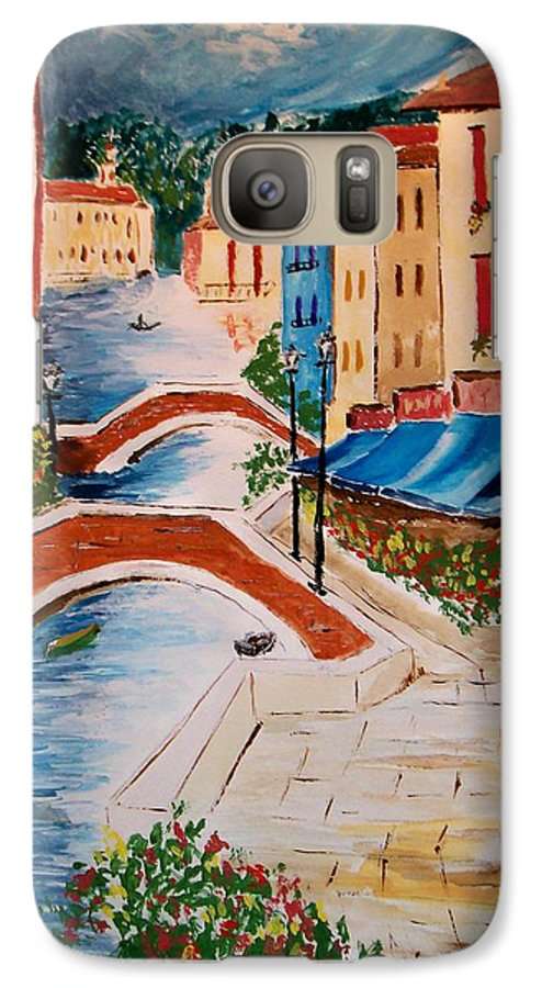 Canal Galaxy S7 Case featuring the painting Riverwalk by Leo Gordon