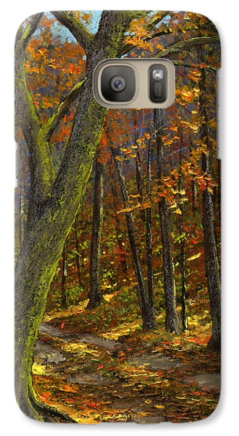 Landscape Galaxy S7 Case featuring the painting Road In The Woods by Frank Wilson
