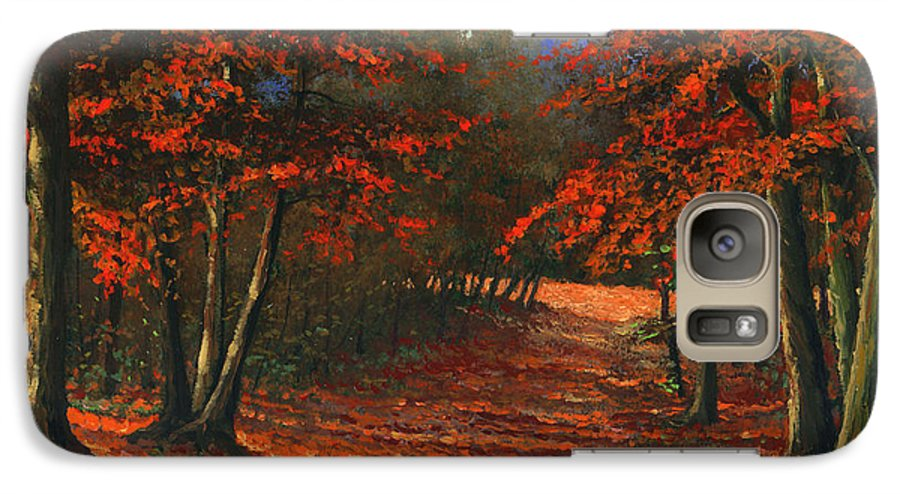 Landscape Galaxy S7 Case featuring the painting Road To The Clearing by Frank Wilson