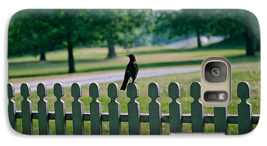 Bird Galaxy S7 Case featuring the photograph Robin On A Fence by Lone Dakota Photography