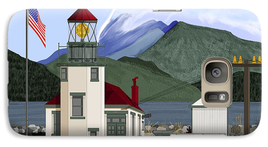 Point Robinson Lighthouse Galaxy S7 Case featuring the painting Robinson Point With Mount Rainier by Anne Norskog