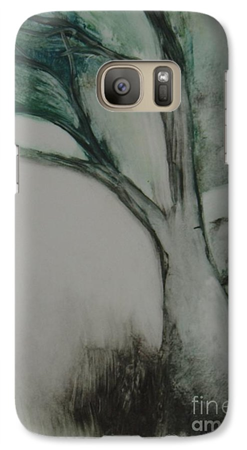 Monoprint Tree Rock Trees Galaxy S7 Case featuring the painting Rock Tree by Leila Atkinson