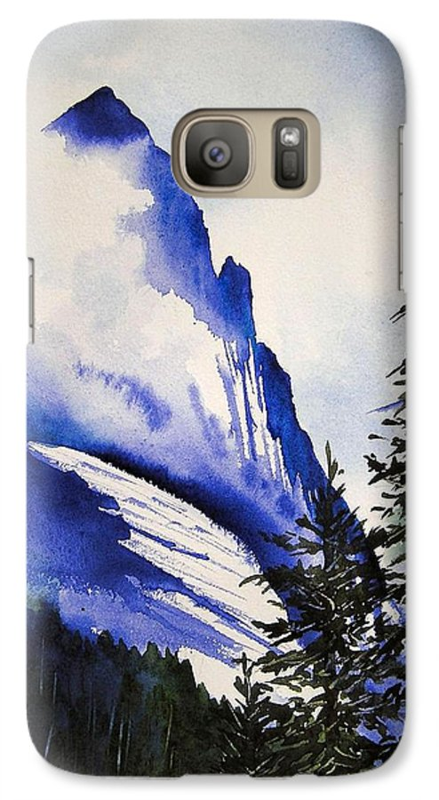 Rocky Mountains Galaxy S7 Case featuring the painting Rocky Mountain High by Karen Stark