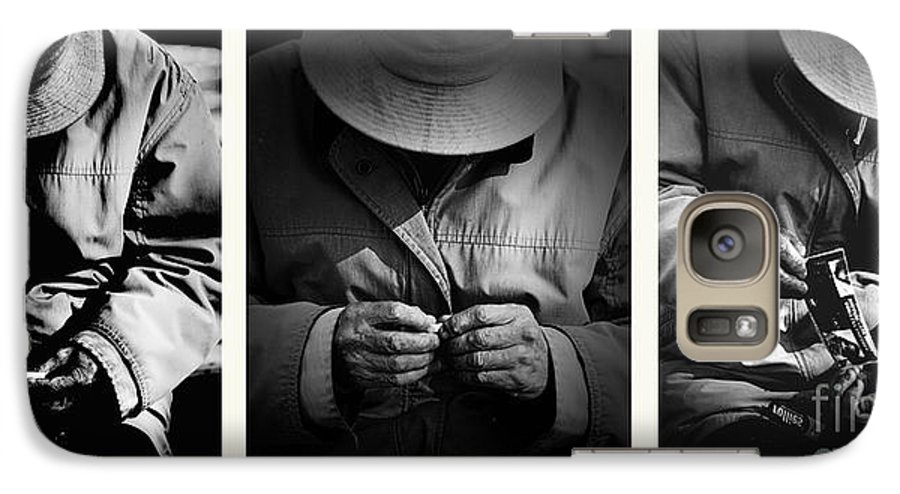 Rollup Rolling Cigarette Smoker Smoking Man Hat Monochrome Galaxy S7 Case featuring the photograph Rolling His Own by Sheila Smart Fine Art Photography