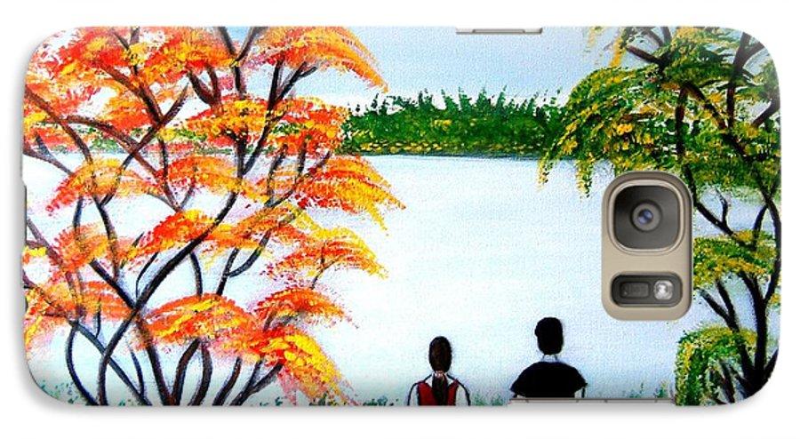 Romance Figures Autumn Orange Trees Green Pop Water Lake Love Valentine Yellow Lake Spring Bloom Galaxy S7 Case featuring the painting Romance In Autumn by Manjiri Kanvinde