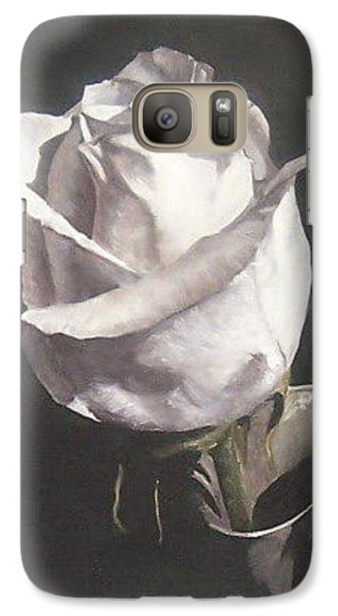 Rose Floral Nature White Flower Galaxy S7 Case featuring the painting Rose 2 by Natalia Tejera