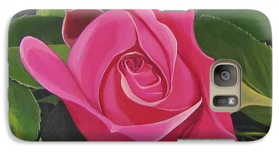 Pink Rose Galaxy S7 Case featuring the painting Rose Arcana by Hunter Jay