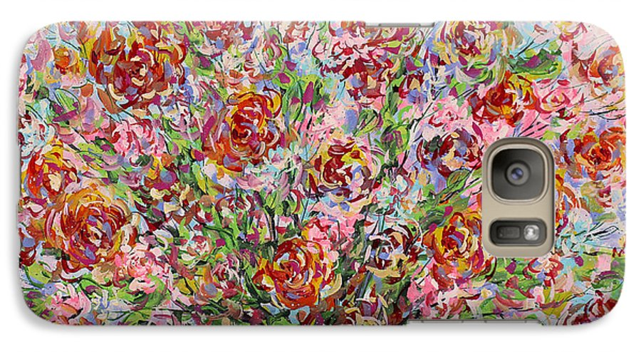 Flowers Galaxy S7 Case featuring the painting Rose Bouquet In Glass Vase by Leonard Holland