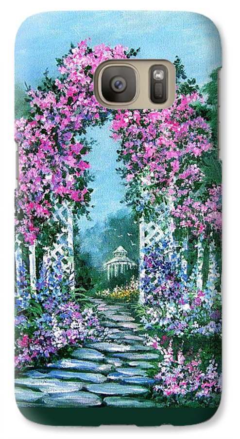Roses;floral;garden;picket Fence;arch;trellis;garden Walk;flower Garden; Galaxy S7 Case featuring the painting Rose-covered Trellis by Lois Mountz