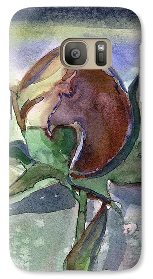 Rose Galaxy S7 Case featuring the painting Rose In The Snow by Mindy Newman
