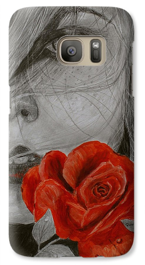 Woman Galaxy S7 Case featuring the painting Rose Kisses by Quwatha Valentine