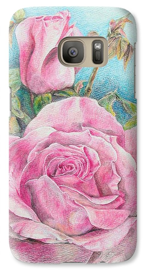 Flower Galaxy S7 Case featuring the painting Rose by Muriel Dolemieux
