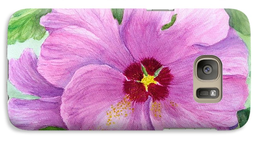 Watercolour Galaxy S7 Case featuring the painting Rose Of Sharon by Peggy King