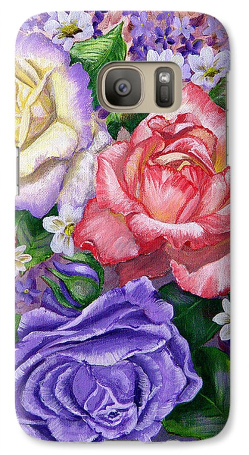 Rose Galaxy S7 Case featuring the painting Roses by Quwatha Valentine