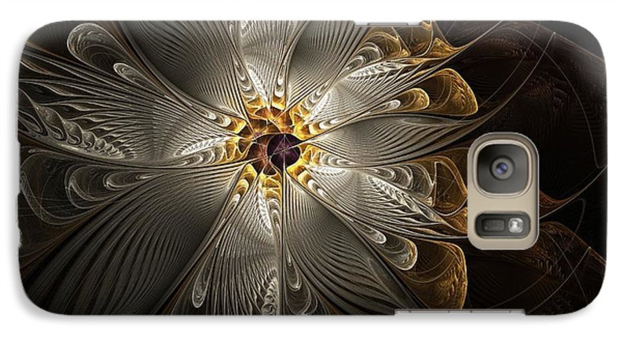 Digital Art Galaxy S7 Case featuring the digital art Rosette In Gold And Silver by Amanda Moore
