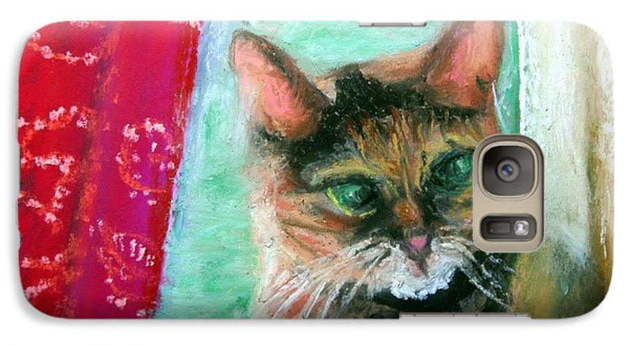 Cat Galaxy S7 Case featuring the painting Rosy In Color by Minaz Jantz