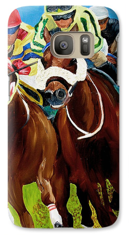 Horse Racing Galaxy S7 Case featuring the painting Rounding The Bend by Michael Lee