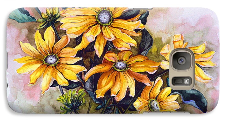Flower Painting Sun Flower Painting Flower Botanical Painting  Original Watercolor Painting Rudebeckia Painting Floral Painting Yellow Painting Greeting Card Painting Galaxy S7 Case featuring the painting Rudbeckia Prairie Sun by Karin Dawn Kelshall- Best