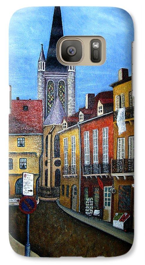 Street Scene Galaxy S7 Case featuring the painting Rue Lamonnoye In Dijon France by Nancy Mueller